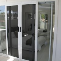 Crimsafe Bi Parting Double Doors with White Frame