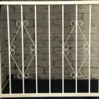 Hinged Steel Window Grille Variation of D7 Design Closed