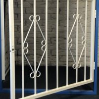 Hinged Steel Window Grille Variation of D7 Design Open
