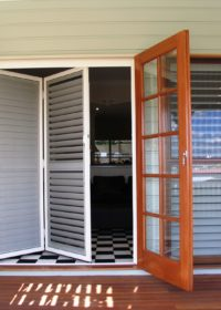 Shutter sliding door half open