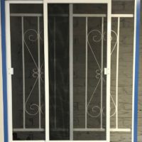 Steel Window Grille D8 Design with Double Sliding Flyscreen 2