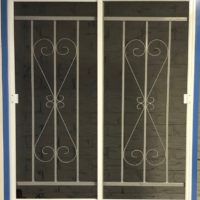 Steel Window Grille D8 Design with Double Sliding Flyscreen